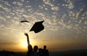 Palestinian students celebrate during th